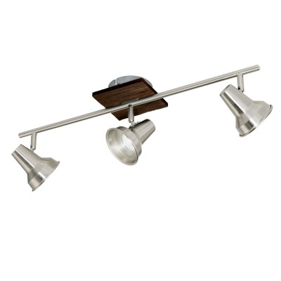 Eglo FILIPINA 95648 Светильник спотТройные<br>Светодиодный cпот FILIPINA, 3x3,3W(GU10), L580, сталь, дерево, коричневый, никель матовый применяется преимущественно в домашнем освещении с использованием стандартных выключателей и переключателей для сетей 220V.<br><br>Тип лампы: LED - светодиодная<br>Тип цоколя: GU10<br>Количество ламп: 3<br>Ширина, мм: 120<br>MAX мощность ламп, Вт: 3<br>Длина, мм: 580<br>Цвет арматуры: коричневый, никель матовый