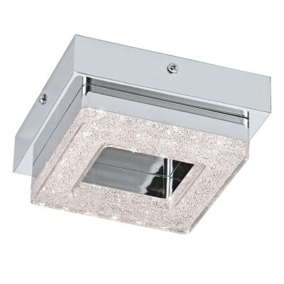 Eglo FRADELO 95655 Настенно-потолочный светильникКвадратные<br>Светодиодный настенно-потолочный светильник FRADELO, 1х4W(LED), 120х120, сталь, хром/пластик с кристал., хром, прозрач. применяется преимущественно в домашнем освещении с использованием стандартных выключателей и переключателей для сетей 220V.<br><br>S освещ. до, м2: 2<br>Цветовая t, К: 3000<br>Тип лампы: LED - светодиодная<br>Тип цоколя: LED<br>Количество ламп: 1<br>Ширина, мм: 120<br>MAX мощность ламп, Вт: 4<br>Длина, мм: 120<br>Высота, мм: 60<br>Цвет арматуры: серебристый хром