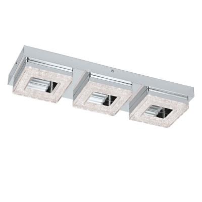 Eglo FRADELO 95656 Настенно-потолочный светильникДлинные<br>Светодиодный настенно-потолочный светильник FRADELO, 3х4W(LED), 440х120, сталь, хром/пластик с кристал., хром, прозрач. применяется преимущественно в домашнем освещении с использованием стандартных выключателей и переключателей для сетей 220V.<br><br>S освещ. до, м2: 5<br>Цветовая t, К: 3000<br>Тип лампы: LED - светодиодная<br>Тип цоколя: LED<br>Количество ламп: 3<br>Ширина, мм: 120<br>MAX мощность ламп, Вт: 4<br>Длина, мм: 440<br>Высота, мм: 60<br>Цвет арматуры: серебристый хром
