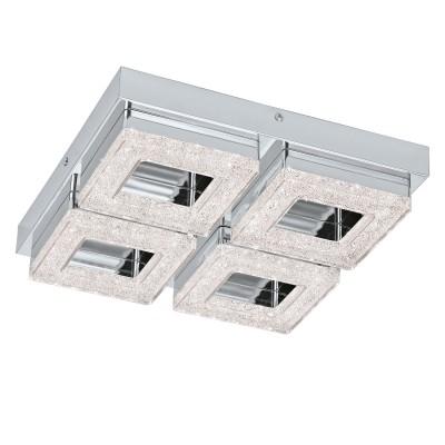 Eglo FRADELO 95657 Настенно-потолочный светильникКвадратные<br>Светодиодный настенно-потолочный светильник FRADELO, 4х4W(LED), 280х280, сталь, хром/пластик с кристал., хром, прозрач. применяется преимущественно в домашнем освещении с использованием стандартных выключателей и переключателей для сетей 220V.<br><br>S освещ. до, м2: 6<br>Цветовая t, К: 3000<br>Тип лампы: LED - светодиодная<br>Тип цоколя: LED<br>Количество ламп: 4<br>Ширина, мм: 280<br>MAX мощность ламп, Вт: 4<br>Длина, мм: 280<br>Высота, мм: 60<br>Цвет арматуры: серебристый хром