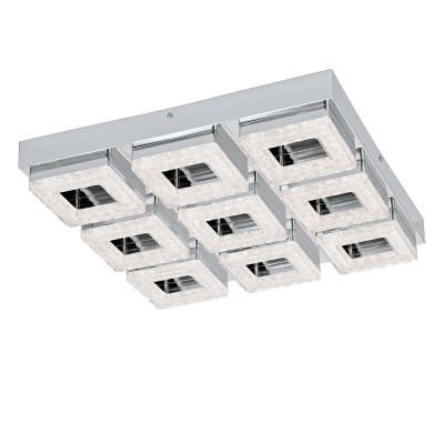Eglo FRADELO 95658 Настенно-потолочный светильникКвадратные<br>Светодиодный настенно-потолочный светильник FRADELO, 9х4W(LED), 440х440, сталь, хром/пластик с кристал., хром, прозрач. применяется преимущественно в домашнем освещении с использованием стандартных выключателей и переключателей для сетей 220V.<br><br>S освещ. до, м2: 14<br>Цветовая t, К: 3000<br>Тип лампы: LED - светодиодная<br>Тип цоколя: LED<br>Цвет арматуры: серебристый хром<br>Количество ламп: 9<br>Ширина, мм: 440<br>Длина, мм: 440<br>Высота, мм: 60<br>MAX мощность ламп, Вт: 4