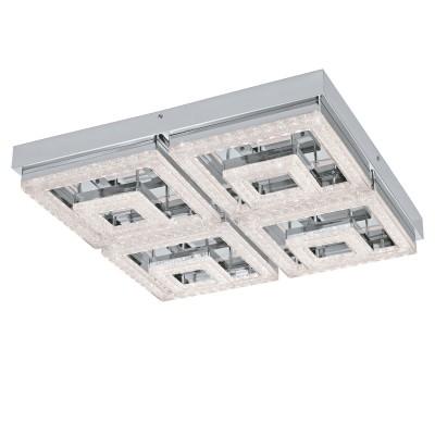 Eglo FRADELO 95661 Настенно-потолочный светильник LEDПотолочные<br>Светодиодный потол. светильник FRADELO, 48W(LED), 520х520, сталь, хром/пластик с кристал., хром, прозрач. применяется преимущественно в домашнем освещении с использованием стандартных выключателей и переключателей для сетей 220V.<br><br>Установка на натяжной потолок: Да<br>S освещ. до, м2: 19<br>Цветовая t, К: 3000<br>Тип лампы: LED - светодиодная<br>Тип цоколя: LED<br>Цвет арматуры: серебристый<br>Количество ламп: 1<br>Ширина, мм: 520<br>Длина, мм: 520<br>Высота, мм: 60<br>MAX мощность ламп, Вт: 48
