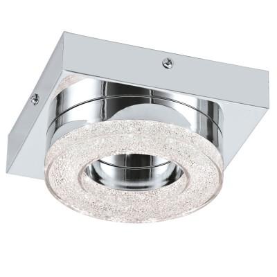 Eglo FRADELO 95662 Настенно-потолочный светильникКвадратные<br>Светодиодный настенно-потолочный светильник FRADELO, 1х4W(LED), 120х120, сталь, хром/пластик с кристал., хром, прозрач. применяется преимущественно в домашнем освещении с использованием стандартных выключателей и переключателей для сетей 220V.<br><br>S освещ. до, м2: 2<br>Цветовая t, К: 3000<br>Тип лампы: LED - светодиодная<br>Тип цоколя: LED<br>Количество ламп: 1<br>Ширина, мм: 120<br>MAX мощность ламп, Вт: 4<br>Длина, мм: 120<br>Высота, мм: 60<br>Цвет арматуры: серебристый хром