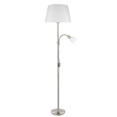 Eglo CONESA 95686 Напольный торшерСовременные<br>Торшер CONESA c ламп. для чтен., 1х60W(E27), 1х40W(E14), ?380, H1700,  cталь, никель мат./текстиль, стекло, белый применяется преимущественно в домашнем освещении с использованием стандартных выключателей и переключателей для сетей 220V.<br><br>Тип цоколя: E27<br>Цвет арматуры: серебристый<br>Количество ламп: 1<br>Диаметр, мм мм: 380<br>Высота, мм: 1700<br>MAX мощность ламп, Вт: 60