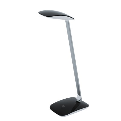 Eglo CAJERO 95696 Настольная лампа для офисаСветодиодные<br>Светодиодный наст. лампа СAJERO c cенсор. диммером, 5W(LED), L150, H500, пластик, черный, нейтр. свет применяется преимущественно в домашнем освещении с использованием стандартных выключателей и переключателей для сетей 220V.<br><br>Цветовая t, К: 4000<br>Тип лампы: LED - светодиодная<br>Тип цоколя: LED<br>Количество ламп: 1<br>Ширина, мм: 100<br>MAX мощность ламп, Вт: 5<br>Длина, мм: 150<br>Высота, мм: 500<br>Цвет арматуры: черный