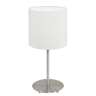 Eglo PASTERI 95725 Текстильный светильникСовременные<br>Настольная лампа PASTERI, 1х60W(E14), ?140, H275, никель матовый/текстиль, белый применяется преимущественно в домашнем освещении с использованием стандартных выключателей и переключателей для сетей 220V.<br><br>Тип цоколя: E14<br>Цвет арматуры: серебристый<br>Количество ламп: 1<br>Диаметр, мм мм: 140<br>Высота, мм: 275<br>MAX мощность ламп, Вт: 40