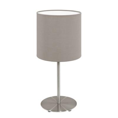 Eglo PASTERI 95726 Текстильный светильникСовременные<br>Настольная лампа PASTERI, 1х60W(E27), ?140, H275, никель матовый/текстиль, серо-коричневый применяется преимущественно в домашнем освещении с использованием стандартных выключателей и переключателей для сетей 220V.<br><br>Тип цоколя: E14<br>Количество ламп: 1<br>MAX мощность ламп, Вт: 40<br>Диаметр, мм мм: 140<br>Высота, мм: 275<br>Цвет арматуры: никель матовый