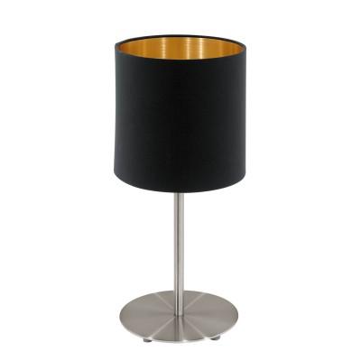 Eglo PASTERI 95729 Текстильный светильникСовременные<br>Настольная лампа PASTERI, 1х60W(E14), ?140, H275, никель матовый/текстиль, черный применяется преимущественно в домашнем освещении с использованием стандартных выключателей и переключателей для сетей 220V.<br><br>Тип цоколя: E14<br>Количество ламп: 1<br>MAX мощность ламп, Вт: 40<br>Диаметр, мм мм: 140<br>Высота, мм: 275<br>Цвет арматуры: никель матовый