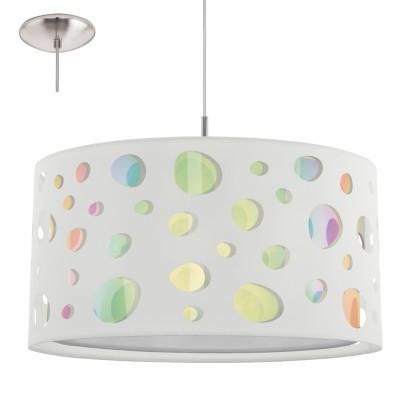 Eglo MONEDA 95732 Подвесной светильникОдиночные<br>Подвес MONEDA, 1х60W(E27), ?445, сталь, хром/текстиль, крист. пленка, белый, радужный применяется преимущественно в домашнем освещении с использованием стандартных выключателей и переключателей для сетей 220V.<br><br>Тип товара: Подвесной светильник<br>Тип цоколя: E27<br>Количество ламп: 1<br>MAX мощность ламп, Вт: 60<br>Диаметр, мм мм: 445<br>Высота, мм: 1100<br>Цвет арматуры: серебристый хром