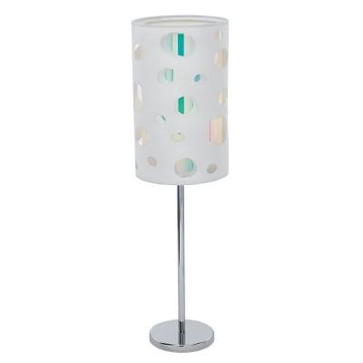 Eglo MONEDA 95735 Настольная лампаСовременные<br>Настольная лампа MONEDA, 1х60W(E27), ?165, H590, сталь, хром/текстиль, крист. пленка, белый, радужный применяется преимущественно в домашнем освещении с использованием стандартных выключателей и переключателей для сетей 220V.<br><br>Тип цоколя: E27<br>Количество ламп: 1<br>MAX мощность ламп, Вт: 60<br>Диаметр, мм мм: 165<br>Высота, мм: 590<br>Цвет арматуры: серебристый хром