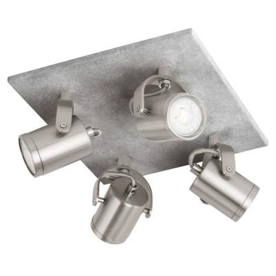 Eglo PRACETA 95744 Светодиодный спотС 4 лампами<br>Светодиодный спот PRACETA, 4x3,3W(GU10),L240, H260, сталь, серый, никель матовый, под бетон применяется преимущественно в домашнем освещении с использованием стандартных выключателей и переключателей для сетей 220V.<br><br>S освещ. до, м2: 5<br>Тип лампы: LED - светодиодная<br>Тип цоколя: GU10<br>Цвет арматуры: серебристый<br>Количество ламп: 4<br>Длина, мм: 240<br>Высота, мм: 260<br>MAX мощность ламп, Вт: 3