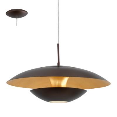 Eglo NUVANO 95755 Подвесной светильникодиночные подвесные светильники<br>Подвес NUVANO, 1х60W(E27), ?480, сталь, коричневый, золотой применяется преимущественно в домашнем освещении с использованием стандартных выключателей и переключателей для сетей 220V.<br><br>S освещ. до, м2: 3<br>Тип цоколя: E27<br>Цвет арматуры: коричневый, золотой<br>Количество ламп: 1<br>Диаметр, мм мм: 480<br>Высота, мм: 1100<br>MAX мощность ламп, Вт: 60