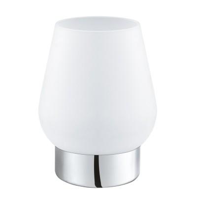 Eglo DAMASCO 1 95761 Настольная лампаСовременные<br>Наст. лампа DAMASCO 1, 1х60W(E14), ?135, H175, сталь, хром/cатиновое стекло, белый применяется преимущественно в домашнем освещении с использованием стандартных выключателей и переключателей для сетей 220V.<br><br>Тип лампы: Накаливания / энергосбережения / светодиодная<br>Тип цоколя: E14<br>Цвет арматуры: хром<br>Количество ламп: 1<br>Диаметр, мм мм: 135<br>Высота, мм: 175<br>MAX мощность ламп, Вт: 60
