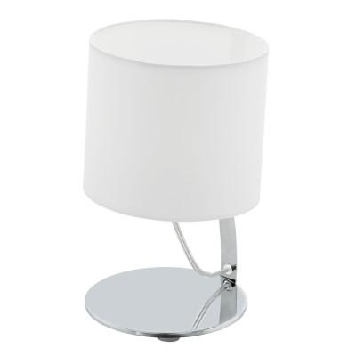 Eglo NAMBIA 1 95764 Настольная лампаСовременные<br>Светодиодный наст. лампа NAMBIA 1, 1х6W(LED), ?150, H245, сталь, хром/текстиль, белый применяется преимущественно в домашнем освещении с использованием стандартных выключателей и переключателей для сетей 220V.<br><br>Цветовая t, К: 3000<br>Тип лампы: LED - светодиодная<br>Тип цоколя: LED<br>Количество ламп: 1<br>MAX мощность ламп, Вт: 6<br>Диаметр, мм мм: 150<br>Высота, мм: 245<br>Цвет арматуры: серебристый хром