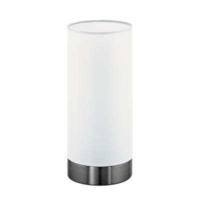 Eglo DAMASCO 1 95776 Настольная лампаСовременные настольные лампы модерн<br>Наст. лампа DAMASCO 1, 1х60W(E27), ?100, H215, сталь, хром/cатиновое стекло, белый применяется преимущественно в домашнем освещении с использованием стандартных выключателей и переключателей для сетей 220V.<br><br>Тип лампы: Накаливания / энергосбережения / светодиодная<br>Тип цоколя: E27<br>Цвет арматуры: хром<br>Количество ламп: 1<br>Диаметр, мм мм: 100<br>Высота, мм: 215<br>MAX мощность ламп, Вт: 60