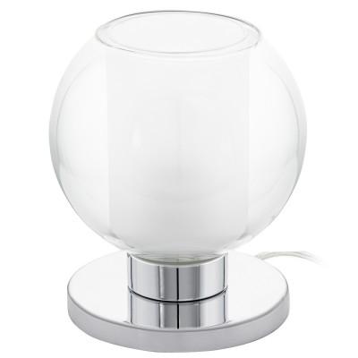 Eglo KARLO 1 95781 Настольная лампаСовременные<br>Наст. лампа KARLO 1, 1х60W(E27), ?130, H170, сталь, хром/ стекло, прозрачный, белый применяется преимущественно в домашнем освещении с использованием стандартных выключателей и переключателей для сетей 220V.<br><br>Тип цоколя: E27<br>Количество ламп: 1<br>MAX мощность ламп, Вт: 60<br>Диаметр, мм мм: 130<br>Высота, мм: 170<br>Цвет арматуры: серебристый хром