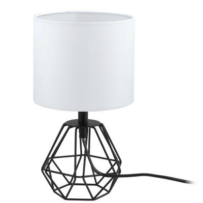 Eglo CARLTON 2 95789 Настольная лампаХай тек<br>Наст. лампа CARLTON 2, 1х60W(E14), ?165, H305, сталь, черный/текстиль, белый применяется преимущественно в домашнем освещении с использованием стандартных выключателей и переключателей для сетей 220V.<br><br>Тип цоколя: E14<br>Цвет арматуры: черный<br>Количество ламп: 1<br>Диаметр, мм мм: 165<br>Высота, мм: 305<br>MAX мощность ламп, Вт: 60