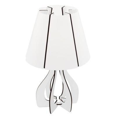 Eglo COSSANO 95796 Настольная лампаОжидается<br>Наст. лампа COSSANO, 1х40W(E14), ?190, H310, сталь, белый/дерево, белый применяется преимущественно в домашнем освещении с использованием стандартных выключателей и переключателей для сетей 220V.<br><br>Тип цоколя: E14<br>Цвет арматуры: белый<br>Количество ламп: 1<br>Диаметр, мм мм: 190<br>Высота, мм: 310<br>MAX мощность ламп, Вт: 40