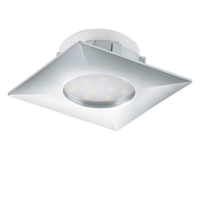 Eglo PINEDA 95798 Встраиваемый светильникКвадратные LED<br>Светодиодный встраиваемый светильник PINEDA, 1х6W(LED), 78х78, пластик, хром применяется преимущественно в домашнем освещении с использованием стандартных выключателей и переключателей для сетей 220V.<br><br>Цветовая t, К: 3000<br>Тип лампы: LED - светодиодная<br>Тип цоколя: LED<br>Количество ламп: 1<br>Ширина, мм: 78<br>MAX мощность ламп, Вт: 6<br>Длина, мм: 78<br>Цвет арматуры: серебристый хром