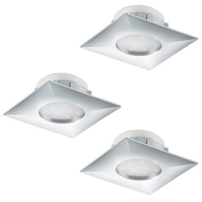Eglo PINEDA 95802 Встраиваемый светильникСветодиодные квадратные светильники<br>Комплект Светодиодный встраив. светильников PINEDA, 3х6W(LED), 78х78, пластик, хром применяется преимущественно в домашнем освещении с использованием стандартных выключателей и переключателей для сетей 220V.<br><br>Цветовая t, К: 3000<br>Тип лампы: LED - светодиодная<br>Тип цоколя: LED<br>Цвет арматуры: серебристый хром<br>Количество ламп: 3<br>Ширина, мм: 78<br>Длина, мм: 78<br>MAX мощность ламп, Вт: 6