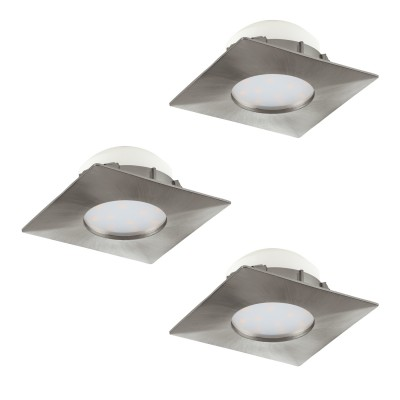 Eglo PINEDA 95803 Встраиваемый светильникКвадратные LED<br>Комплект Светодиодный встраив. светильников PINEDA, 3х6W(LED), 78х78, пластик, никель матовый применяется преимущественно в домашнем освещении с использованием стандартных выключателей и переключателей для сетей 220V.<br><br>Цветовая t, К: 3000<br>Тип лампы: LED - светодиодная<br>Тип цоколя: LED<br>Количество ламп: 3<br>Ширина, мм: 78<br>MAX мощность ламп, Вт: 6<br>Длина, мм: 78<br>Цвет арматуры: серебристый