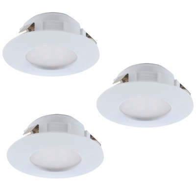 Eglo PINEDA 95807 Встраиваемый светильникКруглые LED<br>Комплект Светодиодный встраив. светильников PINEDA, 3х6W(LED), ?78, пластик, белый применяется преимущественно в домашнем освещении с использованием стандартных выключателей и переключателей для сетей 220V.<br><br>Цветовая t, К: 3000<br>Тип лампы: LED - светодиодная<br>Тип цоколя: LED<br>Количество ламп: 3<br>MAX мощность ламп, Вт: 6<br>Диаметр, мм мм: 78<br>Цвет арматуры: белый