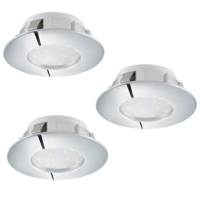 Eglo PINEDA 95808 Встраиваемый светильникКруглые LED<br>Комплект Светодиодный встраив. светильников PINEDA, 3х6W(LED), ?78, пластик, хром применяется преимущественно в домашнем освещении с использованием стандартных выключателей и переключателей для сетей 220V.<br><br>Цветовая t, К: 3000<br>Тип лампы: LED - светодиодная<br>Тип цоколя: LED<br>Количество ламп: 3<br>MAX мощность ламп, Вт: 6<br>Диаметр, мм мм: 78<br>Цвет арматуры: серебристый хром