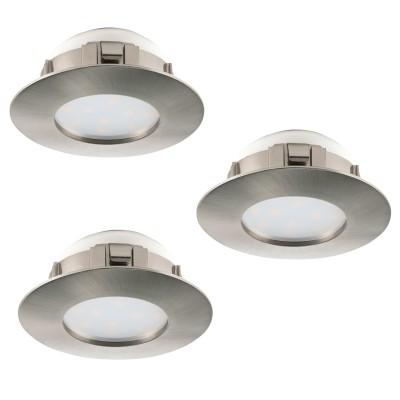 Eglo PINEDA 95809 Встраиваемый светильникКруглые LED<br>Комплект Светодиодный встраив. светильников PINEDA, 3х6W(LED), ?78, пластик, никель матовый применяется преимущественно в домашнем освещении с использованием стандартных выключателей и переключателей для сетей 220V.<br><br>Цветовая t, К: 3000<br>Тип лампы: LED - светодиодная<br>Тип цоколя: LED<br>Количество ламп: 3<br>MAX мощность ламп, Вт: 6<br>Диаметр, мм мм: 78<br>Цвет арматуры: серебристый