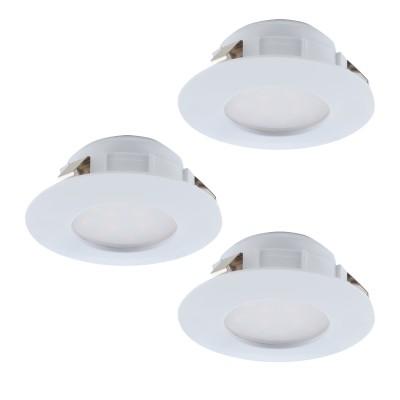 Eglo PINEDA 95821 Встраиваемый светильникКруглые LED<br>Комплект Светодиодный встраив. светильников PINEDA, 3х6W(LED), ?78, IP44, пластик, белый применяется преимущественно в домашнем освещении с использованием стандартных выключателей и переключателей для сетей 220V.<br><br>Цветовая t, К: 3000<br>Тип лампы: LED - светодиодная<br>Тип цоколя: LED<br>Количество ламп: 3<br>MAX мощность ламп, Вт: 6<br>Диаметр, мм мм: 78<br>Цвет арматуры: белый