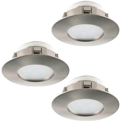 Eglo PINEDA 95823 Встраиваемый светильникКруглые LED<br>Комплект Светодиодный встраив. светильников PINEDA, 3х6W(LED), ?78, IP44, пластик, никель матовый применяется преимущественно в домашнем освещении с использованием стандартных выключателей и переключателей для сетей 220V.<br><br>Цветовая t, К: 3000<br>Тип лампы: LED - светодиодная<br>Тип цоколя: LED<br>Количество ламп: 3<br>MAX мощность ламп, Вт: 6<br>Диаметр, мм мм: 78<br>Цвет арматуры: серебристый