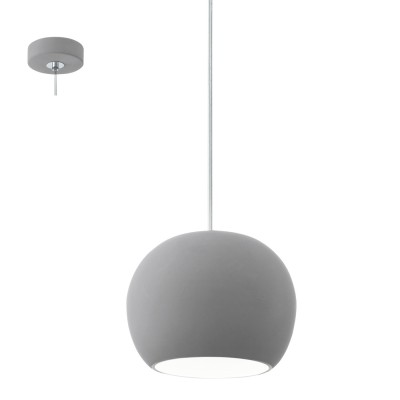 Eglo PRATELLA LED 95837 Подвесной светильникОдиночные<br>Светодиодный подвес PRATELLA LED, 1X40W (GU10), ?150, керамика, серый применяется преимущественно в домашнем освещении с использованием стандартных выключателей и переключателей для сетей 220V.<br><br>S освещ. до, м2: 1<br>Тип лампы: LED - светодиодная<br>Тип цоколя: GU10<br>Количество ламп: 1<br>MAX мощность ламп, Вт: 4<br>Диаметр, мм мм: 150<br>Высота, мм: 1100<br>Цвет арматуры: серый