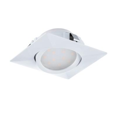 Eglo PINEDA 95841 Встраиваемый светильникСветодиодные квадратные светильники<br>Светодиодный встраиваемый светильник PINEDA регулир., 1х6W(LED), 84х84, пластик, белый применяется преимущественно в домашнем освещении с использованием стандартных выключателей и переключателей для сетей 220V.<br><br>Цветовая t, К: 3000<br>Тип лампы: LED - светодиодная<br>Тип цоколя: LED<br>Цвет арматуры: белый<br>Количество ламп: 1<br>Ширина, мм: 84<br>Длина, мм: 84<br>MAX мощность ламп, Вт: 6