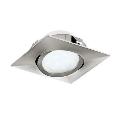 Eglo PINEDA 95843 Встраиваемый светильникКвадратные LED<br>Светодиодный встраиваемый светильник PINEDA регулир., 1х6W(LED), 84х84, пластик, никель матовый применяется преимущественно в домашнем освещении с использованием стандартных выключателей и переключателей для сетей 220V.<br><br>Цветовая t, К: 3000<br>Тип лампы: LED - светодиодная<br>Тип цоколя: LED<br>Цвет арматуры: никель матовый<br>Количество ламп: 1<br>Ширина, мм: 84<br>Длина, мм: 84<br>MAX мощность ламп, Вт: 6
