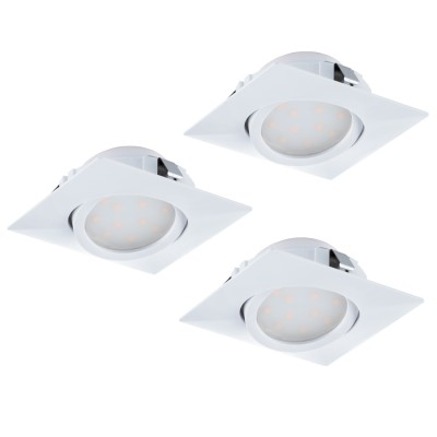 Eglo PINEDA 95844 Встраиваемый светильникКвадратные LED<br>Комплект Светодиодный встраив. светильников PINEDA регулир., 3х6W(LED), 84х84, пластик, белый применяется преимущественно в домашнем освещении с использованием стандартных выключателей и переключателей для сетей 220V.<br><br>Цветовая t, К: 3000<br>Тип лампы: LED - светодиодная<br>Тип цоколя: LED<br>Цвет арматуры: белый<br>Количество ламп: 3<br>Ширина, мм: 84<br>Длина, мм: 84<br>MAX мощность ламп, Вт: 6