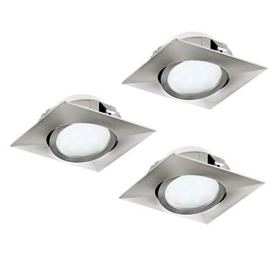 Eglo PINEDA 95846 Встраиваемый светильникКвадратные LED<br>Комплект Светодиодный встраив. светильников PINEDA регулир., 3х6W(LED), 84х84, пластик, никель матовый применяется преимущественно в домашнем освещении с использованием стандартных выключателей и переключателей для сетей 220V.<br><br>Цветовая t, К: 3000<br>Тип лампы: LED - светодиодная<br>Тип цоколя: LED<br>Количество ламп: 3<br>Ширина, мм: 84<br>MAX мощность ламп, Вт: 6<br>Длина, мм: 84<br>Цвет арматуры: серебристый
