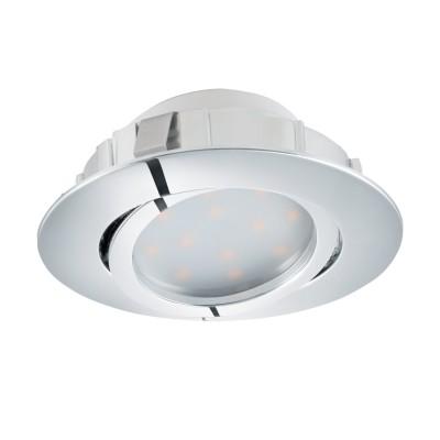 Встраиваемый светильник Eglo 95848 PINEDAСветодиодные круглые встраиваемые светильники<br>Светодиодный встраиваемый светильник PINEDA регулир., 1х6W(LED), ?84, пластик, хром применяется преимущественно в домашнем освещении с использованием стандартных выключателей и переключателей для сетей 220V.