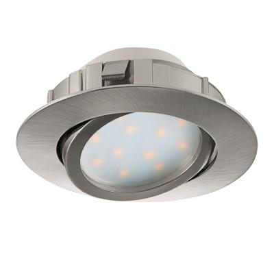 Eglo PINEDA 95849 Встраиваемый светильникКруглые LED<br>Светодиодный встраиваемый светильник PINEDA регулир., 1х6W(LED), ?84, пластик, никель матовый применяется преимущественно в домашнем освещении с использованием стандартных выключателей и переключателей для сетей 220V.<br><br>Цветовая t, К: 3000<br>Тип лампы: LED - светодиодная<br>Тип цоколя: LED<br>Количество ламп: 1<br>MAX мощность ламп, Вт: 6<br>Диаметр, мм мм: 84<br>Цвет арматуры: никель матовый