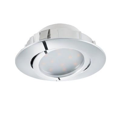 Встраиваемый светильник Eglo 95855 PINEDAкруглые встраиваемые светильники<br>Светодиодный встраиваемый светильник PINEDA регулир. и диммир., 1х6W(LED), ?84, пластик, хром применяется преимущественно в домашнем освещении с использованием стандартных выключателей и переключателей для сетей 220V.