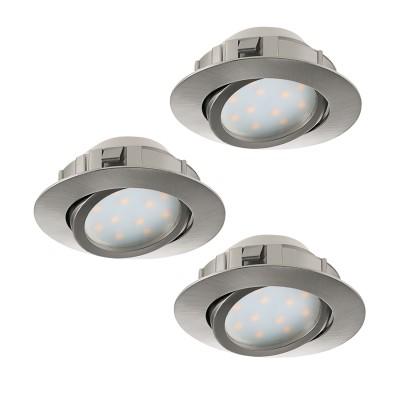 Eglo PINEDA 95859 Встраиваемый светильникКруглые<br>Комплект Светодиодный встраив. светильников PINEDA регулир. и диммир., 3х6W(LED), ?84, пластик, никель матовый применяется преимущественно в домашнем освещении с использованием стандартных выключателей и переключателей для сетей 220V.<br><br>Цветовая t, К: 3000<br>Тип лампы: LED - светодиодная<br>Тип цоколя: LED<br>Количество ламп: 3<br>MAX мощность ламп, Вт: 6<br>Диаметр, мм мм: 84<br>Цвет арматуры: никель матовый