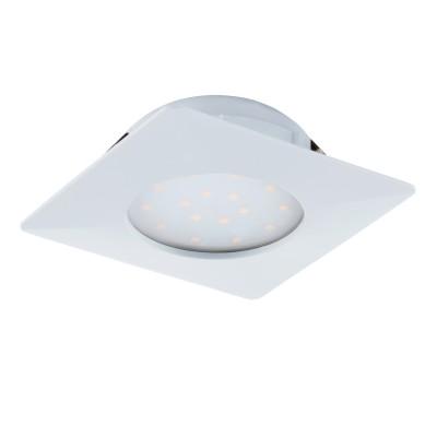 Встраиваемый светильник Eglo 95861 PINEDAсветодиодные квадратные встраиваемые светильники<br>Светодиодный встраиваемый светильник PINEDA, 1х12W(LED), 102х102, пластик, белый применяется преимущественно в домашнем освещении с использованием стандартных выключателей и переключателей для сетей 220V.
