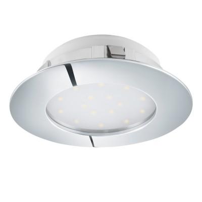 Eglo PINEDA 95875 Встраиваемый светильникКруглые LED<br>Светодиодный встраиваемый светильник PINEDA диммир., 1х12W(LED), ?102,  пластик, хром применяется преимущественно в домашнем освещении с использованием стандартных выключателей и переключателей для сетей 220V.<br><br>Цветовая t, К: 3000<br>Тип лампы: LED - светодиодная<br>Тип цоколя: LED<br>Количество ламп: 1<br>MAX мощность ламп, Вт: 12<br>Диаметр, мм мм: 102<br>Цвет арматуры: серебристый хром