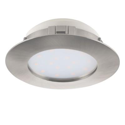 Eglo PINEDA 95876 Встраиваемый светильникКруглые LED<br>Светодиодный встраиваемый светильник PINEDA диммир., 1х12W(LED), ?102, пластик, никель матовый применяется преимущественно в домашнем освещении с использованием стандартных выключателей и переключателей для сетей 220V.<br><br>Цветовая t, К: 3000<br>Тип лампы: LED - светодиодная<br>Тип цоколя: LED<br>Количество ламп: 1<br>MAX мощность ламп, Вт: 12<br>Диаметр, мм мм: 102<br>Цвет арматуры: серебристый
