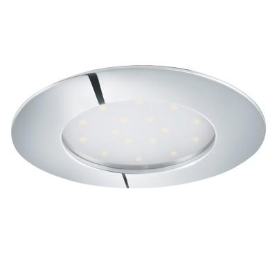 Eglo PINEDA 95888 Встраиваемый светильникКруглые LED<br>Светодиодный встраиваемый светильник PINEDA, 1х12W(LED), ?102, IP44/IP20, пластик, хром применяется преимущественно в домашнем освещении с использованием стандартных выключателей и переключателей для сетей 220V.<br><br>Цветовая t, К: 3000<br>Тип лампы: LED - светодиодная<br>Тип цоколя: LED<br>Количество ламп: 1<br>MAX мощность ламп, Вт: 12<br>Диаметр, мм мм: 102<br>Цвет арматуры: серебристый хром