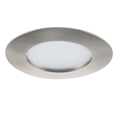 Eglo PINEDA 95889 Встраиваемый светильникСветодиодные круглые светильники<br>Светодиодный встраиваемый светильник PINEDA, 1х12W(LED), ?102, IP44/IP20, пластик, никель матовый применяется преимущественно в домашнем освещении с использованием стандартных выключателей и переключателей для сетей 220V.<br><br>Цветовая t, К: 3000<br>Тип лампы: LED - светодиодная<br>Тип цоколя: LED<br>Цвет арматуры: серебристый<br>Количество ламп: 1<br>Диаметр, мм мм: 102<br>MAX мощность ламп, Вт: 12