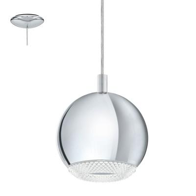Eglo CONESSA 95911 Подвесной светильникОдиночные<br>Cветодиод. подвес  CONESSA, 1х3,3W(GU10), ?150, сталь, хром/пластик, прозрачный применяется преимущественно в домашнем освещении с использованием стандартных выключателей и переключателей для сетей 220V.<br><br>S освещ. до, м2: 1<br>Тип цоколя: GU10<br>Цвет арматуры: серебристый хром<br>Количество ламп: 1<br>Диаметр, мм мм: 150<br>Высота, мм: 1100<br>MAX мощность ламп, Вт: 4