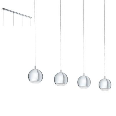 Eglo CONESSA 95912 Подвесной светильникДлинные 4+<br>Cветодиод. подвес  CONESSA, 4х3,3W(GU10), L1010, сталь, хром/пластик, прозрачный применяется преимущественно в домашнем освещении с использованием стандартных выключателей и переключателей для сетей 220V.<br><br>S освещ. до, м2: 6<br>Тип цоколя: GU10<br>Цвет арматуры: серебристый хром<br>Количество ламп: 4<br>Ширина, мм: 150<br>Длина, мм: 1010<br>Высота, мм: 1100<br>MAX мощность ламп, Вт: 4