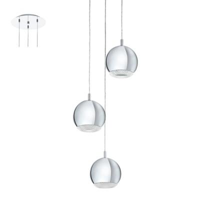 Подвесной светильник Eglo 95913 CONESSAтройные подвесные светильники<br>Cветодиод. подвес  CONESSA, 3х3,3W(GU10), ?290, сталь, хром/пластик, прозрачный применяется преимущественно в домашнем освещении с использованием стандартных выключателей и переключателей для сетей 220V.