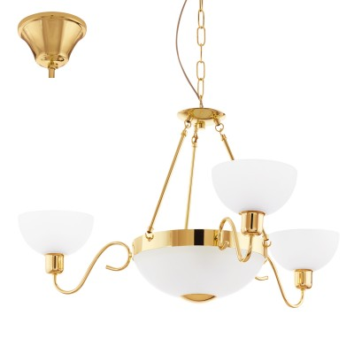 Eglo SAVOY 1 95915 ЛюстраПодвесные<br>Люстра SAVOY 1, 5х60W(E27), ?875, сталь, латунь/сатиновое стекло, белый применяется преимущественно в домашнем освещении с использованием стандартных выключателей и переключателей для сетей 220V.<br><br>Установка на натяжной потолок: Да<br>S освещ. до, м2: 15<br>Тип лампы: Накаливания / энергосбережения / светодиодная<br>Тип цоколя: E27<br>Количество ламп: 5<br>MAX мощность ламп, Вт: 60<br>Диаметр, мм мм: 875<br>Высота, мм: 1100<br>Цвет арматуры: латунь