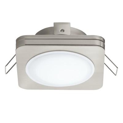 Eglo PINEDA 1 95921 Встраиваемый светильникКвадратные LED<br>Светодиодный встраиваемый светильник PINEDA 1, 1х6W(LED), 82х82, IP44, сталь, пластик, никель мат./пластик, белый применяется преимущественно в домашнем освещении с использованием стандартных выключателей и переключателей для сетей 220V.<br><br>Цветовая t, К: 3000<br>Тип лампы: LED - светодиодная<br>Тип цоколя: LED<br>Количество ламп: 1<br>Ширина, мм: 82<br>MAX мощность ламп, Вт: 6<br>Длина, мм: 82<br>Цвет арматуры: серебристый