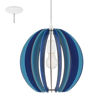 Eglo FABELLA 95949 Светильник для детской комнатыОдиночные<br>Подвес в детскую комнату FABELLA, 1х60W(E27), ?300, H255, сталь, синий/дерево, синий применяется преимущественно в домашнем освещении с использованием стандартных выключателей и переключателей для сетей 220V.<br><br>Тип цоколя: E27<br>Количество ламп: 1<br>MAX мощность ламп, Вт: 60<br>Диаметр, мм мм: 300<br>Высота, мм: 1100<br>Цвет арматуры: белый